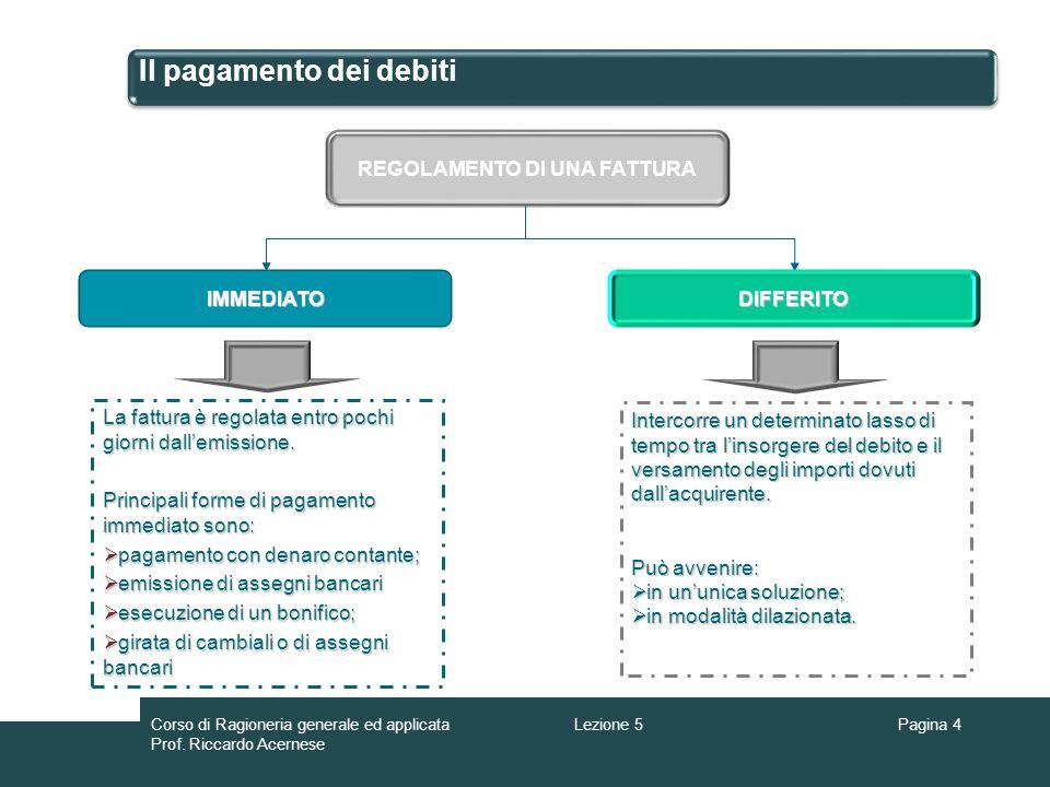 Il pagamento dei debiti Lestinzione del debito comporta la chiusura del conto e in contropartita la registrazione di una uscita di cassa o di banca ovvero linsorgere di un nuovo debito rappresentato da effetti.