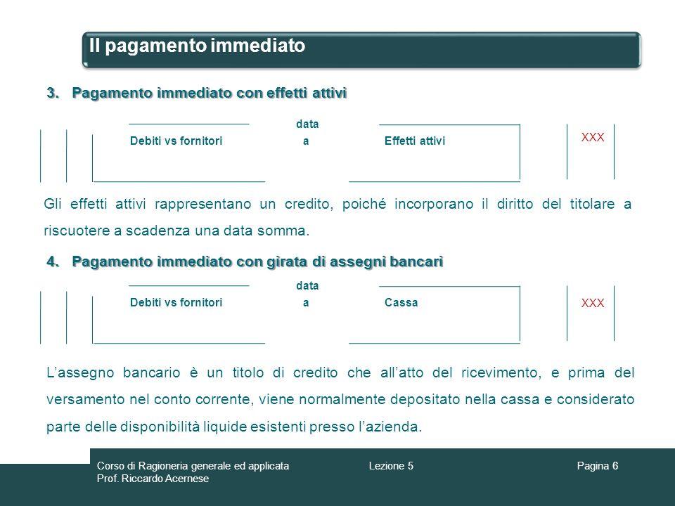 Il pagamento immediato aDebiti vs fornitori data Effetti attivi 3.Pagamento immediatocon effetti attivi 3.Pagamento immediato con effetti attivi aDebi