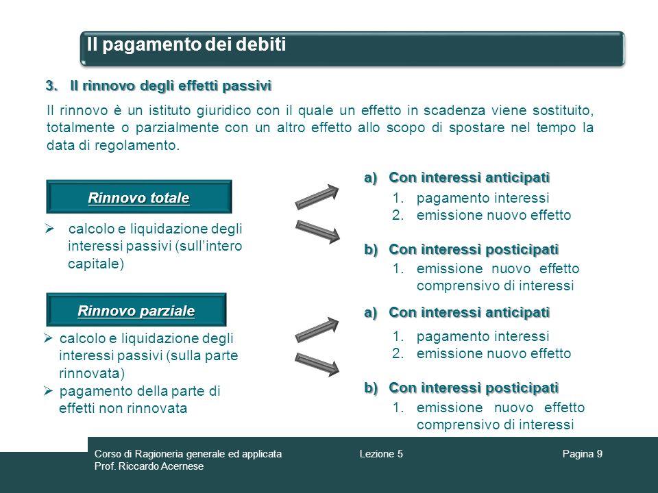 Il pagamento dei debiti 3.Il rinnovo degli effetti passivi Il rinnovo è un istituto giuridico con il quale un effetto in scadenza viene sostituito, to