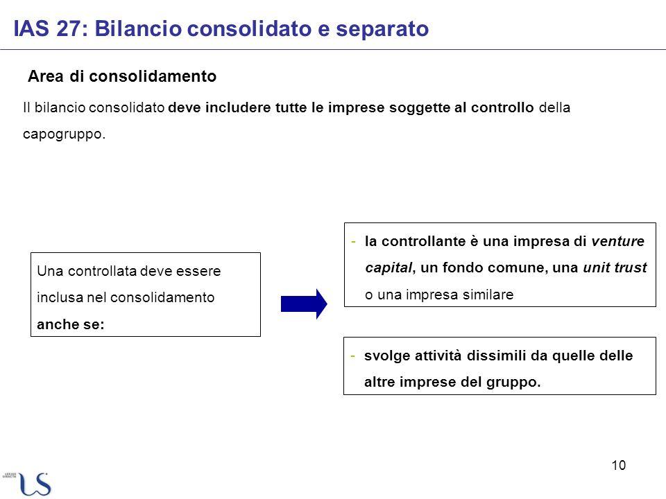 10 Area di consolidamento Il bilancio consolidato deve includere tutte le imprese soggette al controllo della capogruppo. Una controllata deve essere