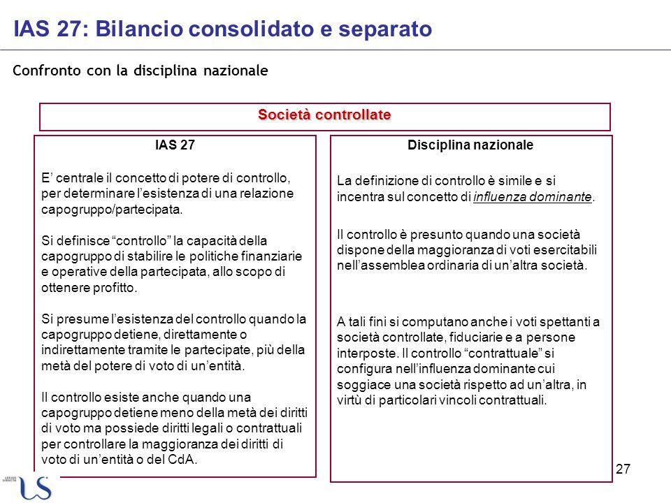 27 Confronto con la disciplina nazionale IAS 27 E centrale il concetto di potere di controllo, per determinare lesistenza di una relazione capogruppo/