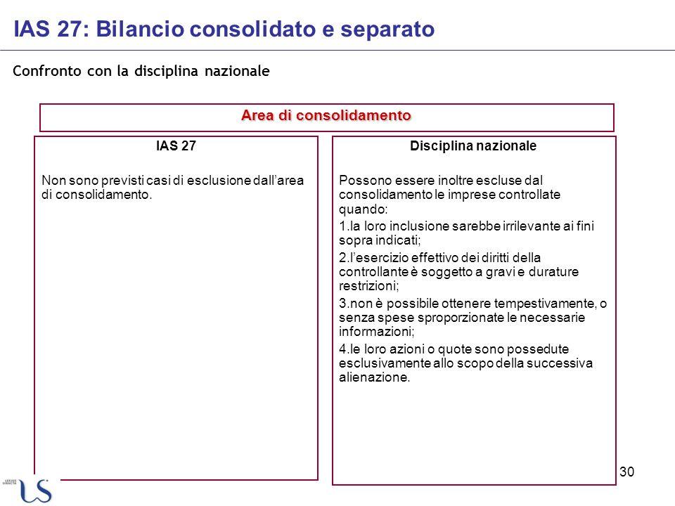 30 Confronto con la disciplina nazionale IAS 27 Non sono previsti casi di esclusione dallarea di consolidamento. Disciplina nazionale Possono essere i