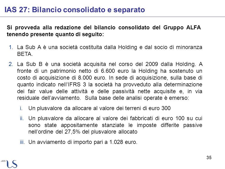 35 IAS 27: Bilancio consolidato e separato Si provveda alla redazione del bilancio consolidato del Gruppo ALFA tenendo presente quanto di seguito: 1.L