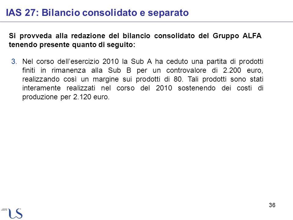36 IAS 27: Bilancio consolidato e separato Si provveda alla redazione del bilancio consolidato del Gruppo ALFA tenendo presente quanto di seguito: 3.N