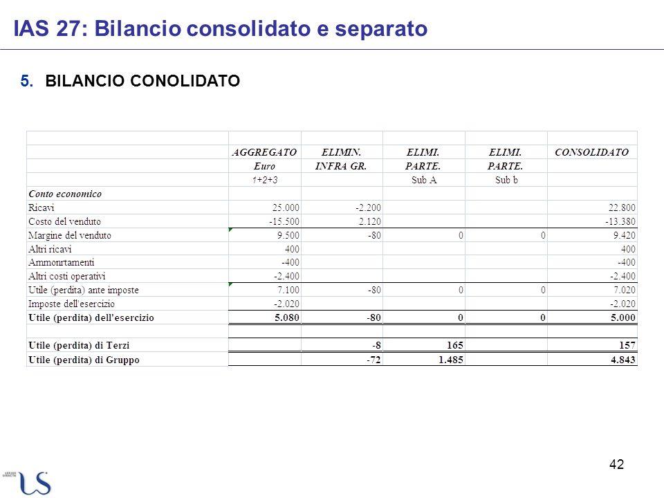 42 IAS 27: Bilancio consolidato e separato 5.BILANCIO CONOLIDATO