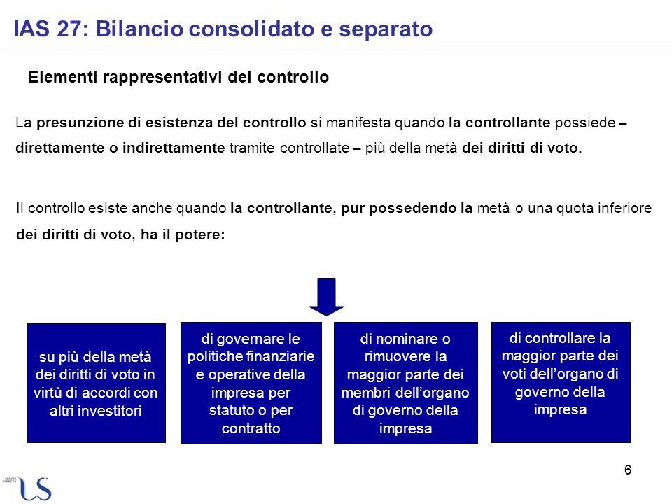 6 Elementi rappresentativi del controllo Il controllo esiste anche quando la controllante, pur possedendo la metà o una quota inferiore dei diritti di