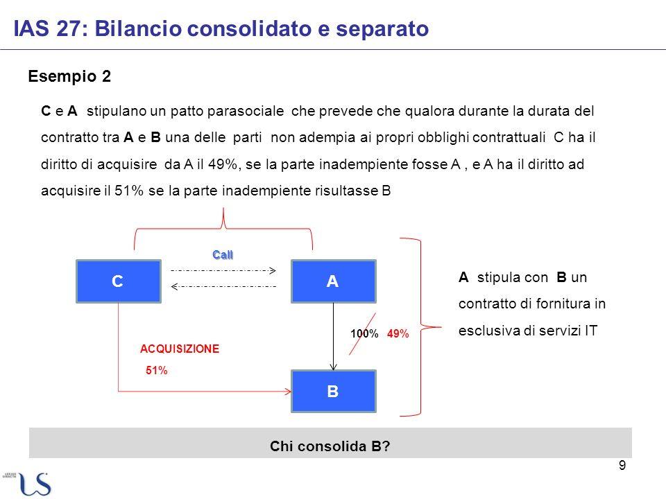 9 Esempio 2 IAS 27: Bilancio consolidato e separato A B 100% C ACQUISIZIONE 51% 49% A stipula con B un contratto di fornitura in esclusiva di servizi