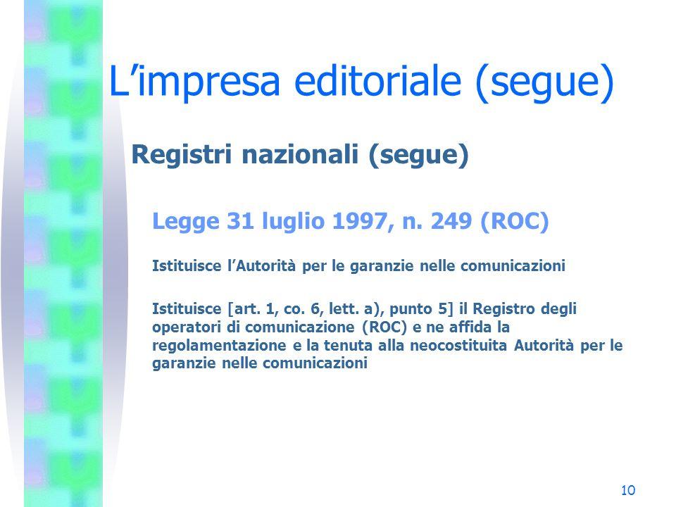 10 Limpresa editoriale (segue) Registri nazionali (segue) Legge 31 luglio 1997, n. 249 (ROC) Istituisce lAutorità per le garanzie nelle comunicazioni