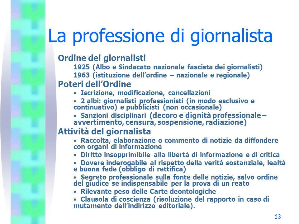 13 La professione di giornalista Ordine dei giornalisti 1925 (Albo e Sindacato nazionale fascista dei giornalisti) 1963 (istituzione dellordine – nazi