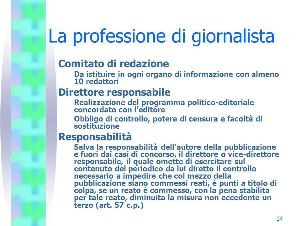 14 La professione di giornalista Comitato di redazione Da istituire in ogni organo di informazione con almeno 10 redattori Direttore responsabile Real