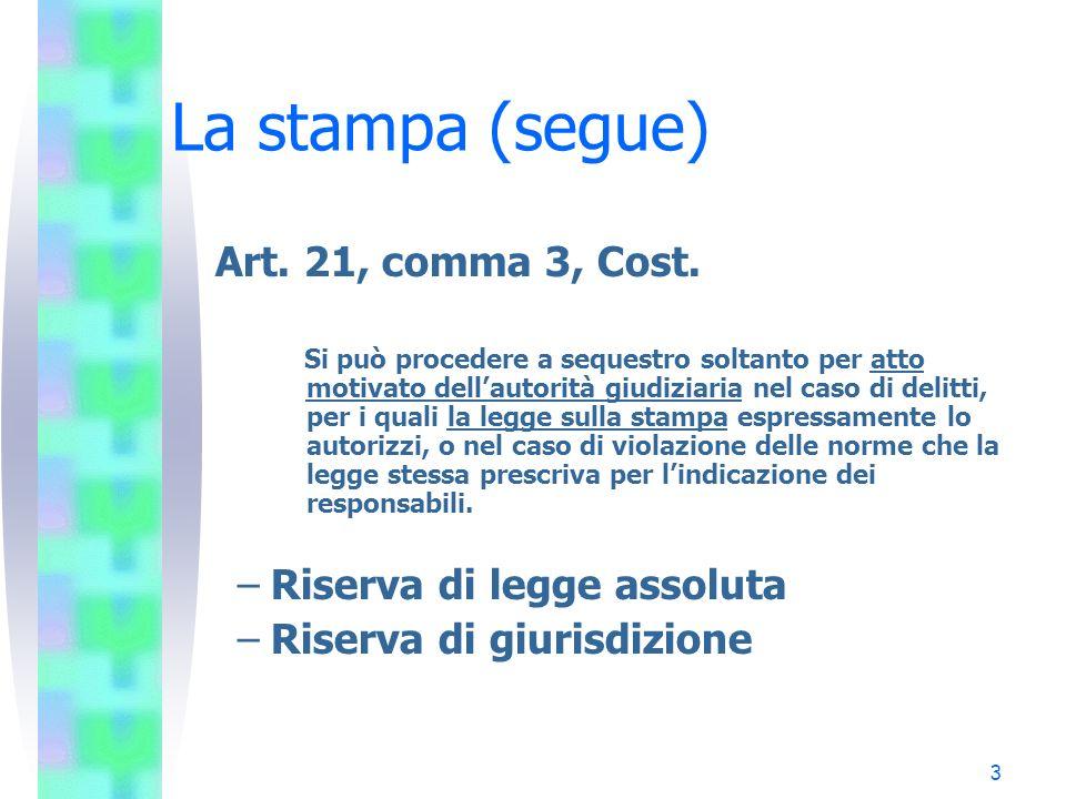 3 La stampa (segue) Art. 21, comma 3, Cost. Si può procedere a sequestro soltanto per atto motivato dellautorità giudiziaria nel caso di delitti, per