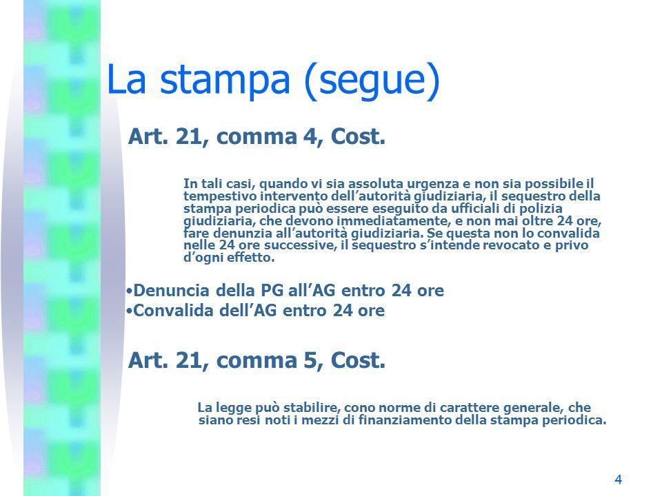 4 La stampa (segue) Art. 21, comma 4, Cost. In tali casi, quando vi sia assoluta urgenza e non sia possibile il tempestivo intervento dellautorità giu