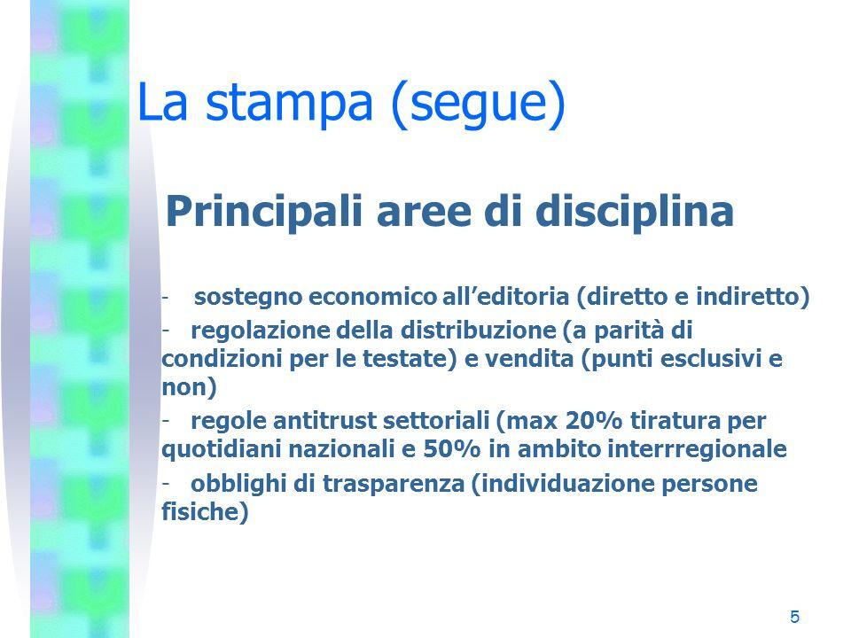 5 La stampa (segue) Principali aree di disciplina - sostegno economico alleditoria (diretto e indiretto) - regolazione della distribuzione (a parità d