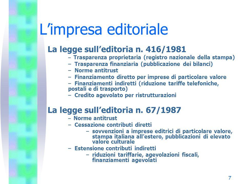 7 Limpresa editoriale La legge sulleditoria n. 416/1981 – Trasparenza proprietaria (registro nazionale della stampa) – Trasparenza finanziaria (pubbli