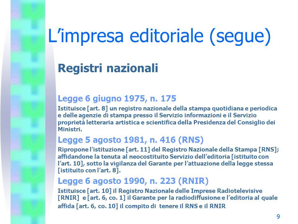 9 Limpresa editoriale (segue) Registri nazionali Legge 6 giugno 1975, n. 175 Istituisce [art. 8] un registro nazionale della stampa quotidiana e perio