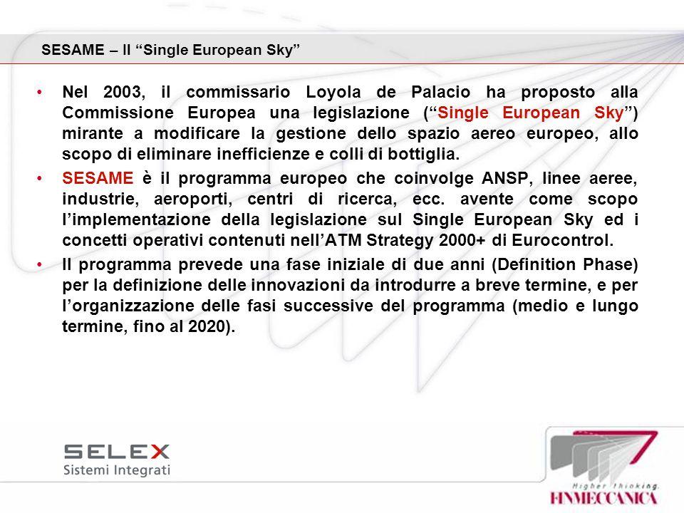 SESAME – Il Single European Sky Nel 2003, il commissario Loyola de Palacio ha proposto alla Commissione Europea una legislazione (Single European Sky)