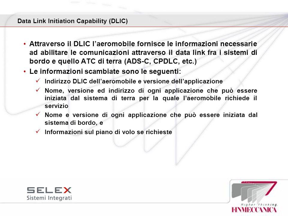 Attraverso il DLIC laeromobile fornisce le informazioni necessarie ad abilitare le comunicazioni attraverso il data link fra i sistemi di bordo e quel