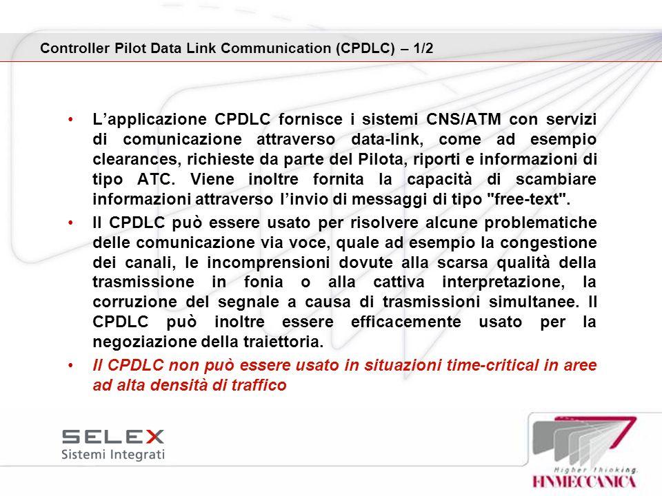 Lapplicazione CPDLC fornisce i sistemi CNS/ATM con servizi di comunicazione attraverso data-link, come ad esempio clearances, richieste da parte del P