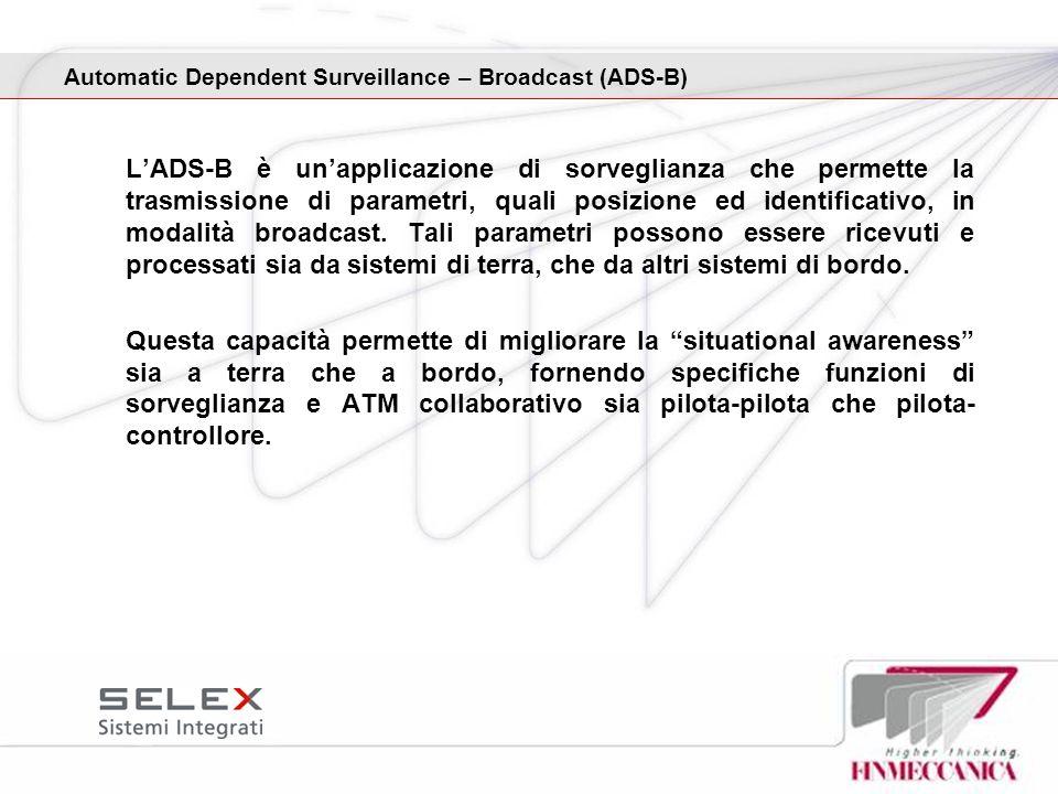 LADS-B è unapplicazione di sorveglianza che permette la trasmissione di parametri, quali posizione ed identificativo, in modalità broadcast. Tali para