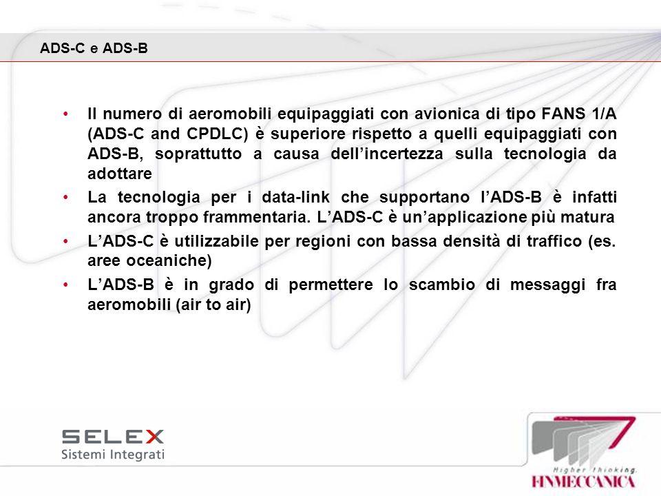 ADS-C e ADS-B Il numero di aeromobili equipaggiati con avionica di tipo FANS 1/A (ADS-C and CPDLC) è superiore rispetto a quelli equipaggiati con ADS-
