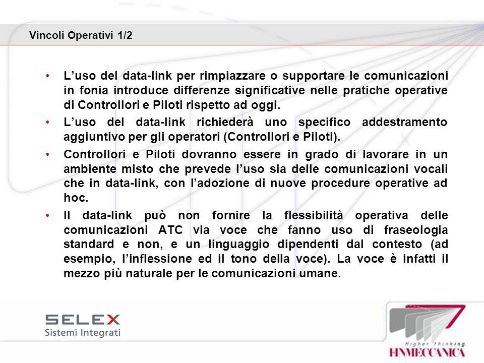 Vincoli Operativi 1/2 Luso del data-link per rimpiazzare o supportare le comunicazioni in fonia introduce differenze significative nelle pratiche oper