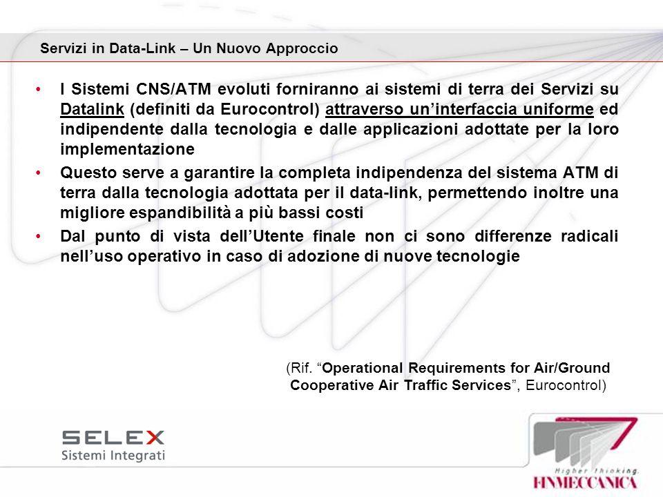 I Sistemi CNS/ATM evoluti forniranno ai sistemi di terra dei Servizi su Datalink (definiti da Eurocontrol) attraverso uninterfaccia uniforme ed indipe