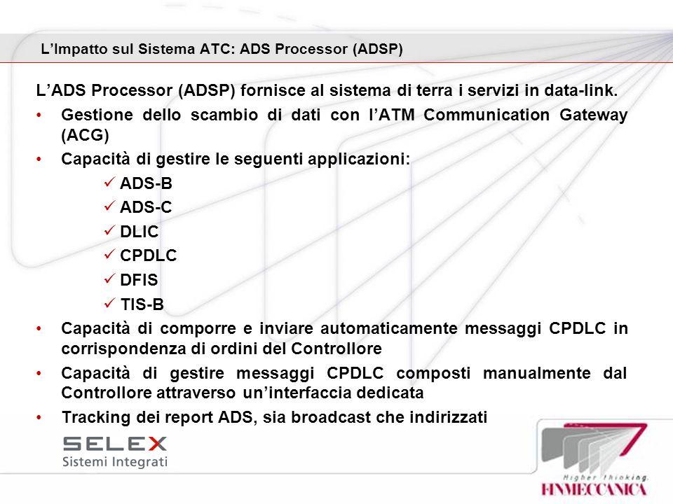 LImpatto sul Sistema ATC: ADS Processor (ADSP) LADS Processor (ADSP) fornisce al sistema di terra i servizi in data-link. Gestione dello scambio di da