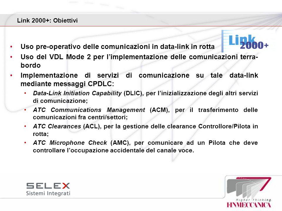 Link 2000+: Obiettivi Uso pre-operativo delle comunicazioni in data-link in rotta Uso del VDL Mode 2 per limplementazione delle comunicazioni terra- b