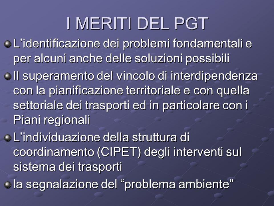 I MERITI DEL PGT Lidentificazione dei problemi fondamentali e per alcuni anche delle soluzioni possibili Il superamento del vincolo di interdipendenza con la pianificazione territoriale e con quella settoriale dei trasporti ed in particolare con i Piani regionali Lindividuazione della struttura di coordinamento (CIPET) degli interventi sul sistema dei trasporti la segnalazione del problema ambiente