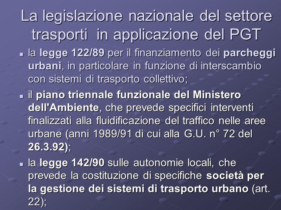 La legislazione nazionale del settore trasporti in applicazione del PGT la legge 122/89 per il finanziamento dei parcheggi urbani, in particolare in funzione di interscambio con sistemi di trasporto collettivo; la legge 122/89 per il finanziamento dei parcheggi urbani, in particolare in funzione di interscambio con sistemi di trasporto collettivo; il piano triennale funzionale del Ministero dell Ambiente, che prevede specifici interventi finalizzati alla fluidificazione del traffico nelle aree urbane (anni 1989/91 di cui alla G.U.