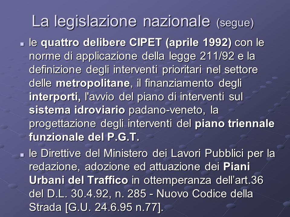 La legislazione nazionale (segue) le quattro delibere CIPET (aprile 1992) con le norme di applicazione della legge 211/92 e la definizione degli interventi prioritari nel settore delle metropolitane, il finanziamento degli interporti, l avvio del piano di interventi sul sistema idroviario padano-veneto, la progettazione degli interventi del piano triennale funzionale del P.G.T.