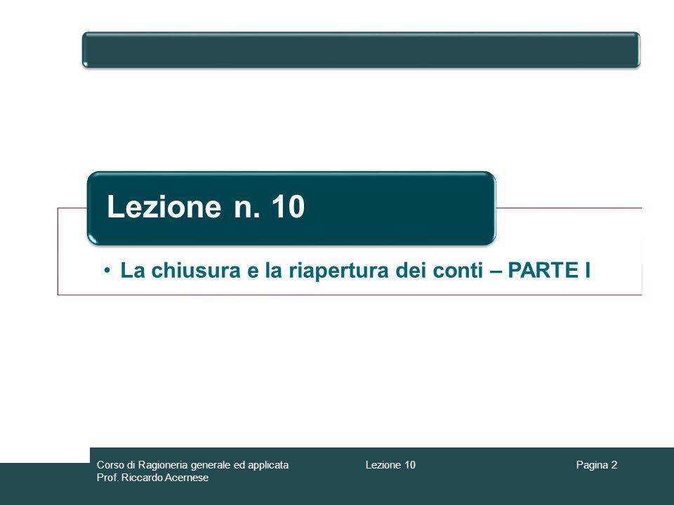 Lezione 10Corso di Ragioneria generale ed applicata Prof.