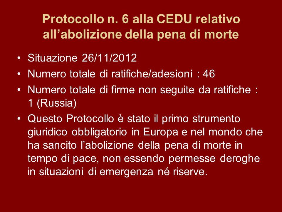 Protocollo n. 6 alla CEDU relativo allabolizione della pena di morte Situazione 26/11/2012 Numero totale di ratifiche/adesioni : 46 Numero totale di f