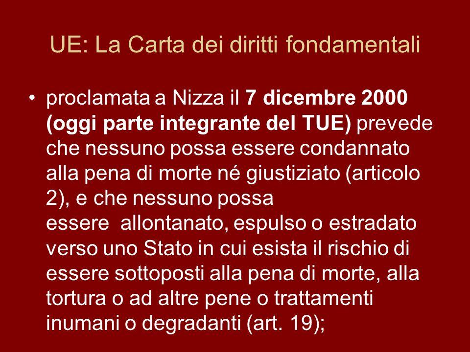 UE: La Carta dei diritti fondamentali proclamata a Nizza il 7 dicembre 2000 (oggi parte integrante del TUE) prevede che nessuno possa essere condannat