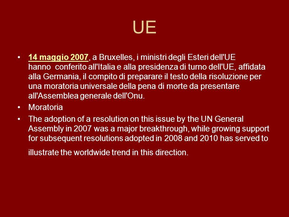 UE 14 maggio 2007, a Bruxelles, i ministri degli Esteri dell'UE hanno conferito all'Italia e alla presidenza di turno dell'UE, affidata alla Germania,
