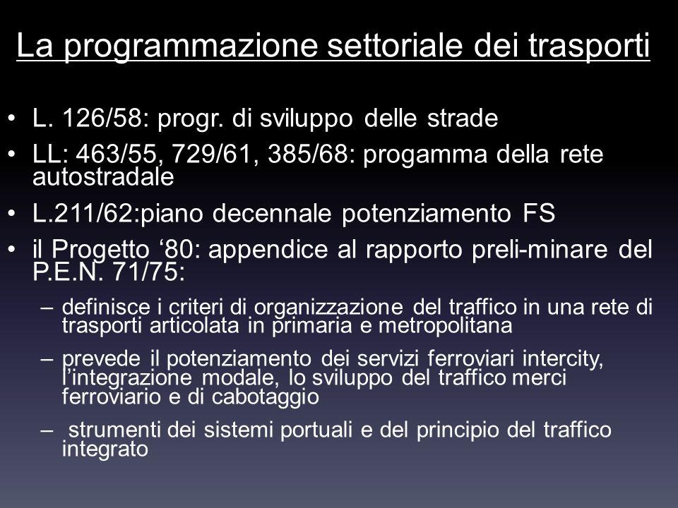 La programmazione settoriale dei trasporti L. 126/58: progr. di sviluppo delle strade LL: 463/55, 729/61, 385/68: progamma della rete autostradale L.2