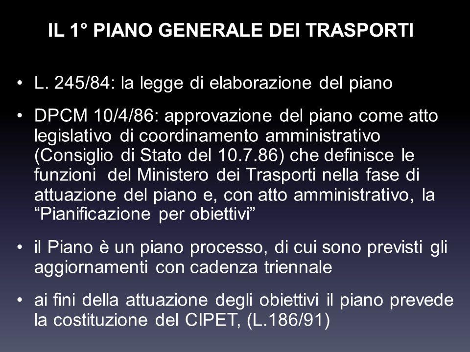 IL 1° PIANO GENERALE DEI TRASPORTI L. 245/84: la legge di elaborazione del piano DPCM 10/4/86: approvazione del piano come atto legislativo di coordin