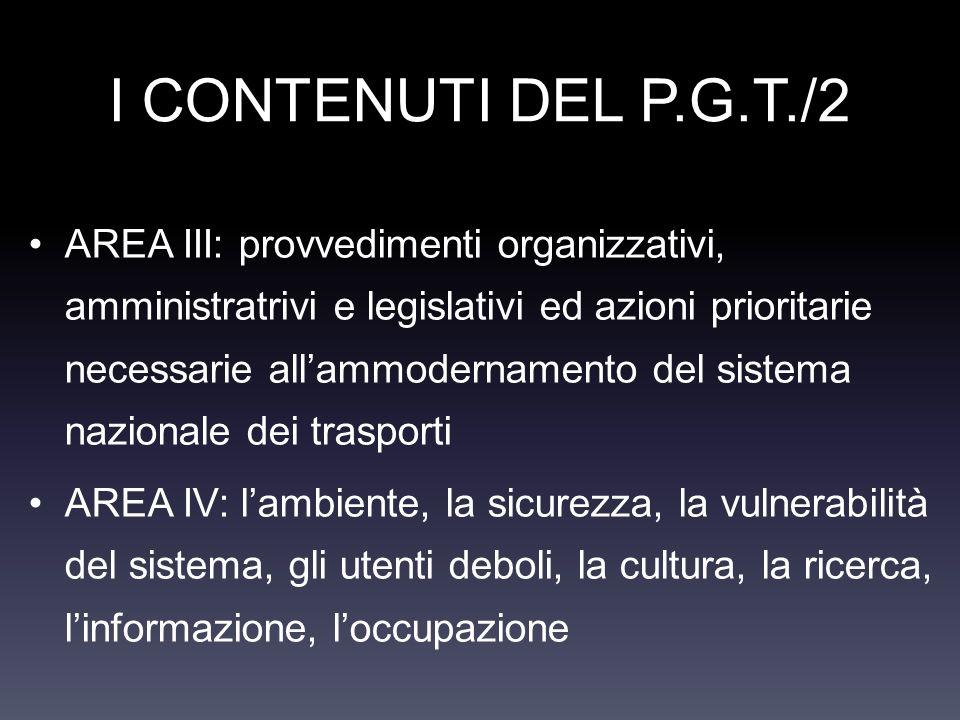 I CONTENUTI DEL P.G.T./2 AREA III: provvedimenti organizzativi, amministratrivi e legislativi ed azioni prioritarie necessarie allammodernamento del s