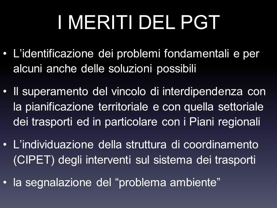 I MERITI DEL PGT Lidentificazione dei problemi fondamentali e per alcuni anche delle soluzioni possibili Il superamento del vincolo di interdipendenza