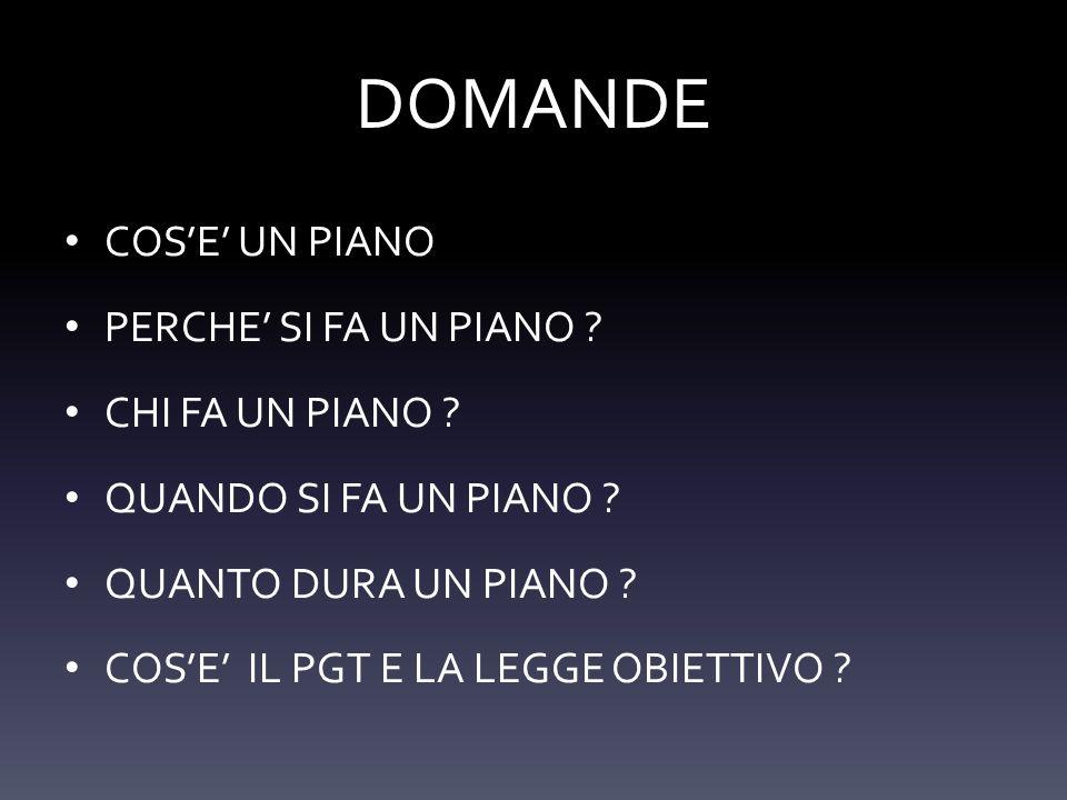 DOMANDE COSE UN PIANO PERCHE SI FA UN PIANO ? CHI FA UN PIANO ? QUANDO SI FA UN PIANO ? QUANTO DURA UN PIANO ? COSE IL PGT E LA LEGGE OBIETTIVO ?