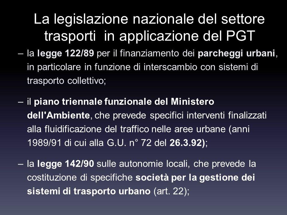 La legislazione nazionale del settore trasporti in applicazione del PGT –la legge 122/89 per il finanziamento dei parcheggi urbani, in particolare in