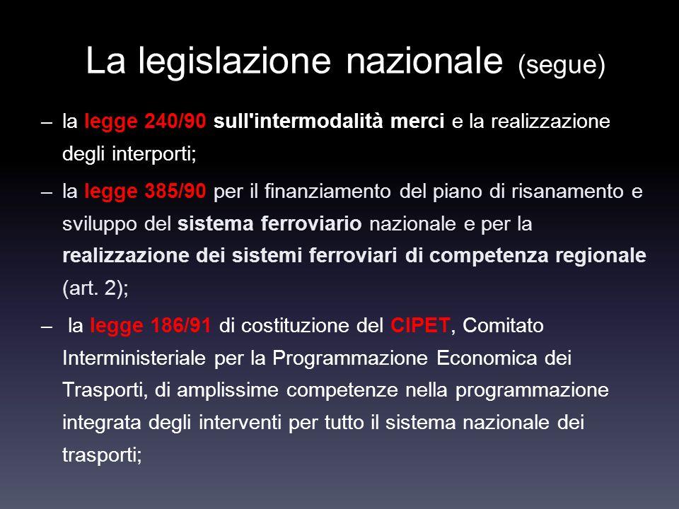 La legislazione nazionale (segue) –la legge 240/90 sull'intermodalità merci e la realizzazione degli interporti; –la legge 385/90 per il finanziamento