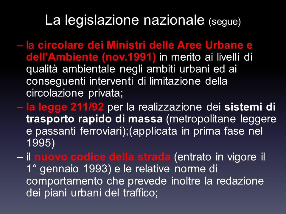 La legislazione nazionale (segue) –la circolare dei Ministri delle Aree Urbane e dell'Ambiente (nov.1991) in merito ai livelli di qualità ambientale n