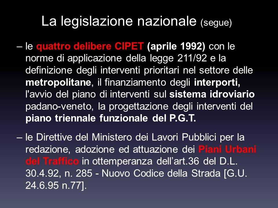 La legislazione nazionale (segue) –le quattro delibere CIPET (aprile 1992) con le norme di applicazione della legge 211/92 e la definizione degli inte