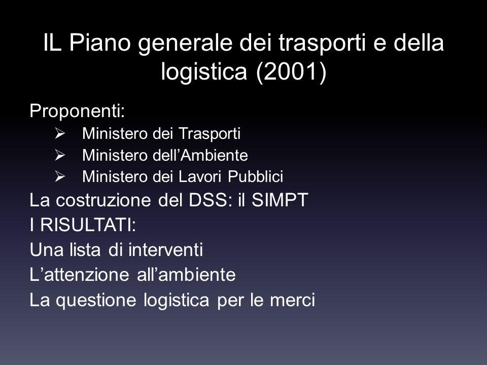 IL Piano generale dei trasporti e della logistica (2001) Proponenti: Ministero dei Trasporti Ministero dellAmbiente Ministero dei Lavori Pubblici La c