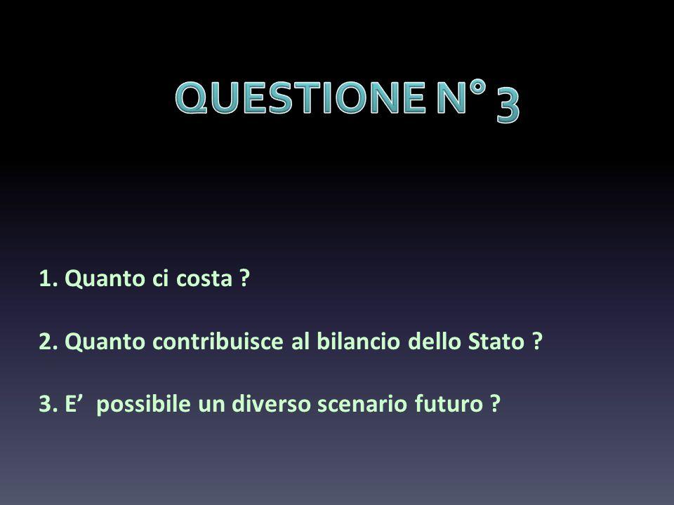 1. Quanto ci costa ? 2. Quanto contribuisce al bilancio dello Stato ? 3. E possibile un diverso scenario futuro ?
