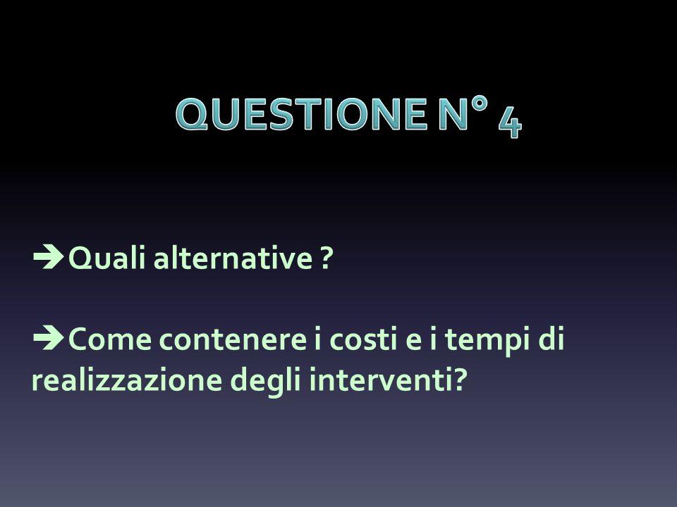 Quali alternative ? Come contenere i costi e i tempi di realizzazione degli interventi?