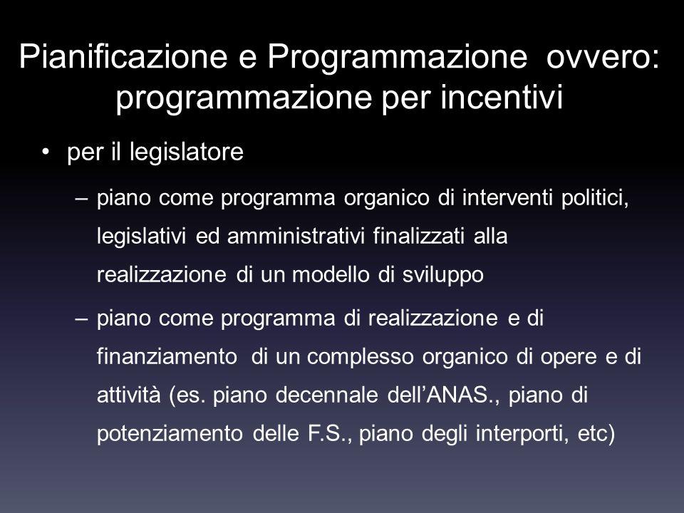 Pianificazione e Programmazione ovvero: programmazione per incentivi per il legislatore –piano come programma organico di interventi politici, legisla