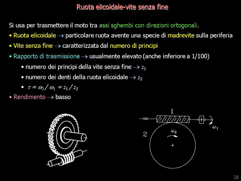 26 Ruota elicoidale-vite senza fine Si usa per trasmettere il moto tra assi sghembi con direzioni ortogonali. Ruota elicoidale particolare ruota avent