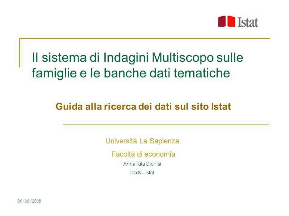 06/05/2005 Il sistema di Indagini Multiscopo sulle famiglie e le banche dati tematiche Guida alla ricerca dei dati sul sito Istat Università La Sapien